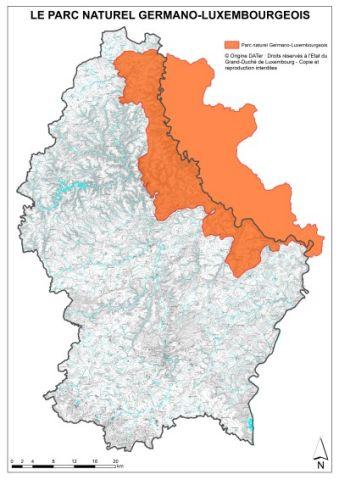 Carte: Le Parc Naturel Germano-luxembourgeois fondé en 1964